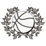 Szarej skala przyrodnia korona gałązka oliwna z koszykówki piłką Fotografia Royalty Free