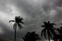 Szarość chmurnieją w niebie z silną wygraną przed dużą burzą zdjęcie stock