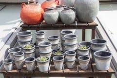 Szarość, groszkowaci gliniani kwiatów garnki, sklepowy okno dla uprawiać ogródek puszkujących kwiaty i rosnąć rośliny i Pojemność fotografia stock