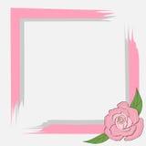 Szarość menchii rama z różami dla karty, zaproszenie, tekst na szarości, poślubia Zdjęcia Royalty Free