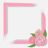 Szarość menchii rama z różami dla karty, zaproszenie, tekst na szarości, poślubia Fotografia Royalty Free