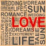 Szarości skrobaniny słowa i jeden miłość Fotografia Stock