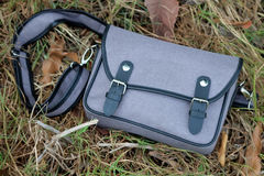 Szarości torba na trawie (Selekcyjna ostrość) obraz stock