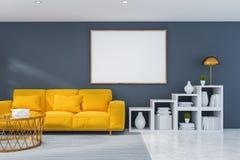Szary żywy pokój z kanapą i plakatem royalty ilustracja