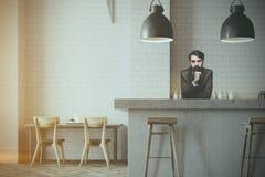 Szary ściennego baru i kawiarni wnętrze, barman ilustracji