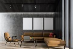 Szary żywy pokój z plakatową galerią ilustracji