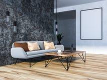 Szary żywy pokój z szarą kanapą i plakatem ilustracji