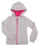 Szary dziecka hoodie pulower Odizolowywający na bielu Zdjęcie Stock
