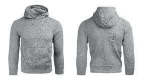 Szary hoodie, bluzy sportowa mockup, odizolowywający na białym tle Fotografia Stock