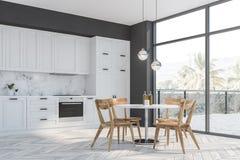 Szary i biali kuchnia kąt balkon i stół, ilustracji