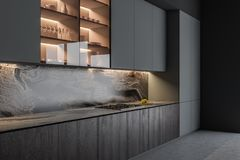 Szary i drewniany kuchenny wn?trze z kontuarami ilustracja wektor