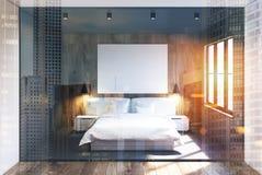 Szary i drewniany sypialni wnętrze, plakat tonujący Fotografia Stock
