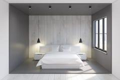 Szary i drewniany sypialni wnętrze Zdjęcie Stock