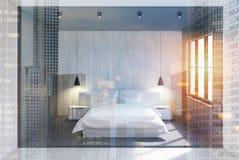 Szary i drewniany sypialni wnętrze, kopia Zdjęcia Stock