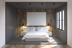Szary i drewniany sypialni wnętrze, plakat Obrazy Stock
