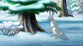 Szary królik w zimie ilustracji