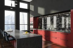 Szary kuchnia kąt z czerwień barem royalty ilustracja