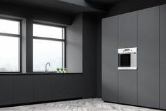 Szary kuchnia kąt z kontuarami i spiżarnią ilustracja wektor