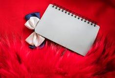 Szary notatnik na wiośnie i łęku krawacie obrazy stock
