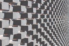 Szary nowożytny architektury tło z popielatymi wypukłymi sześcianami na ścianie zdjęcia royalty free