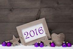 Szary Purpurowy Bożenarodzeniowy dekoracja tekst 2016 Fotografia Stock
