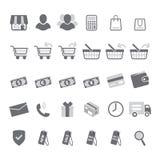 Szary zakupy ikony set Obrazy Royalty Free