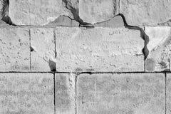 Szarych dużych kamieni prostokątna blokowa część fasadowego fortu budowy grunge stylu światła defensywny tło obrazy stock
