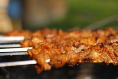 Szaszłyk - tradycyjny georgian grill przygotowywający Obrazy Stock