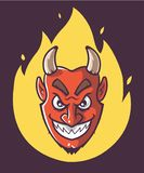 Szatan g?owa jest na ogieniu Purpurowy t?o ilustracja wektor