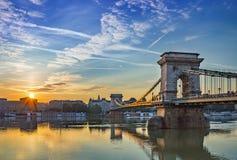 Szchenyi Chain Bridge - Budapest - Hungary Stock Photo