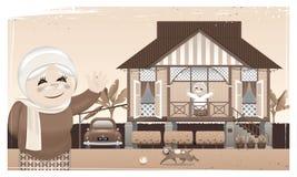 Szczęśliwa Muzułmańska rodzina i ich rodzinne miasteczko w obszarze wiejskim ilustracji
