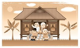 Szczęśliwa Muzułmańska rodzina i ich rodzinne miasteczko w obszarze wiejskim royalty ilustracja