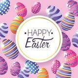 Szczęśliwa Wielkanocna etykietka z Easter jajek dekoracji tłem royalty ilustracja