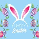 Szczęśliwa Wielkanocnych jajek dekoracja z roślina liści i królików ucho diademem ilustracji