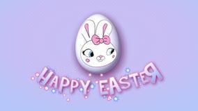 Szczęśliwe Wielkanocne animacja tytułu przyczepy 50 FPS kropki różowią babyblue royalty ilustracja