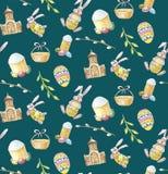 Szczęśliwej wielkanocy ustalony bezszwowy wzór na zielonym tle z kościół, gałąź, królikiem, tortem i jajkami, ilustracji