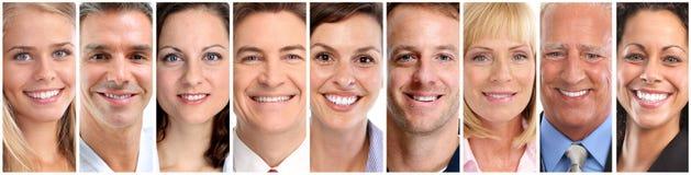 Szczęśliwi ludzie twarzy ustawiać fotografia stock