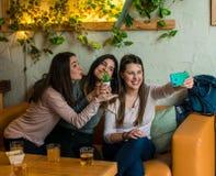 Szczęśliwi przyjaciele grupowi pijący piwnego i bierze selfie przy browaru baru restauracją fotografia stock