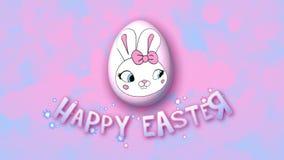 Szczęśliwi Wielkanocni animacja tytułu przyczepy 25 FPS bąble różowią babyblue royalty ilustracja