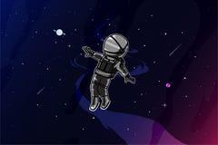 Szczęśliwy astronauta w astronautycznej ilustracji ilustracji