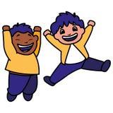 Szczęśliwy międzyrasowy chłopiec świętować royalty ilustracja