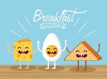 Szczęśliwy smażący jajko z sera i trójboka chlebem ilustracji