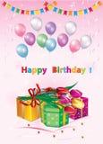 szczęśliwy urodziny Kartka z pozdrowieniami z pudełkami, kwiatami i balonami prezenta, zdjęcia royalty free
