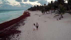 Szczęśliwy w miłości pary mienia rękach chodzi w dół tropikalną plażę w Tulum, Meksyk zbiory