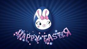 Szczęśliwy Wielkanocny animacja tytułu przyczepy 50 FPS nieskończoności zmrok - błękit ilustracja wektor