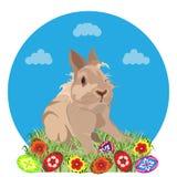 Szczęśliwy Wielkanocny kartka z pozdrowieniami szablon, wektorowa ilustracja ilustracji