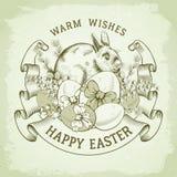 Szczęśliwy Wielkanocny powitanie rocznika projekt ilustracja wektor