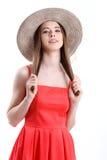 Szczęście azjatykciego tła plaży pięknego dopingu energicznego z podnieceniem świeżego szczęścia szczęśliwy kapelusz odizolowywaj Zdjęcia Stock