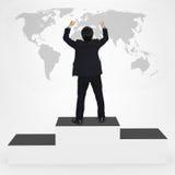 Szczęście biznesów mężczyzna pozycja na zwycięzcy podium zdjęcie stock