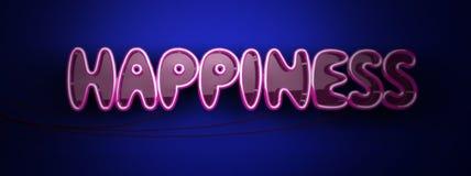 Szczęście neonowy logo Zdjęcia Stock